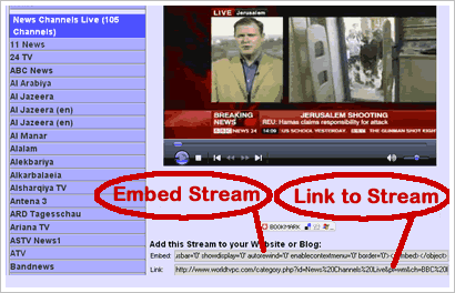 Embed Free Internet TV streams into your Blog or Website Tutorial