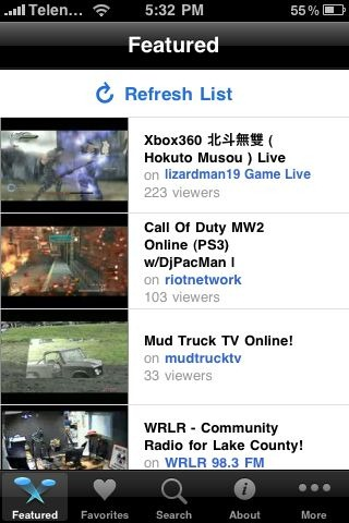 Justin.tv on iPhone