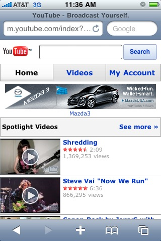 Mobile Youtube on iPhone