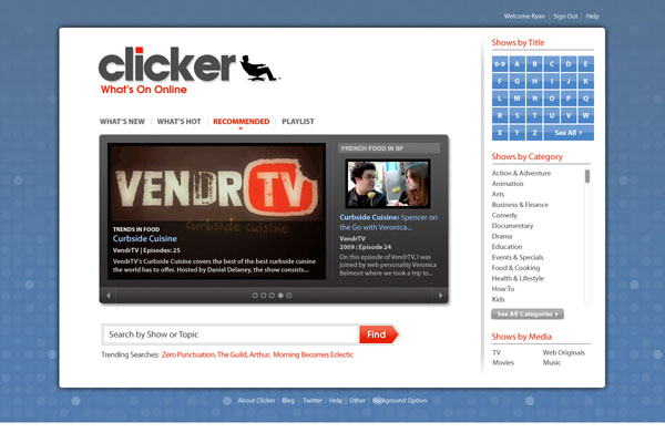 Online TV guide Clicker