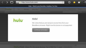 Hulu Puts Block On Blackberry Playbook Streaming