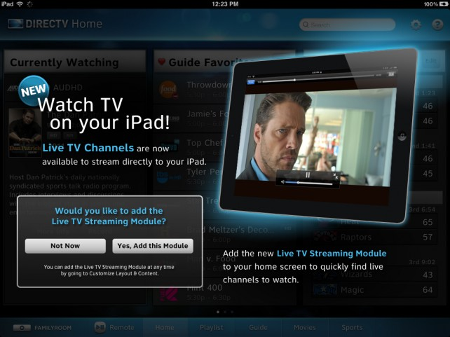 Live satellite TV streaming on iPad from DirecTV