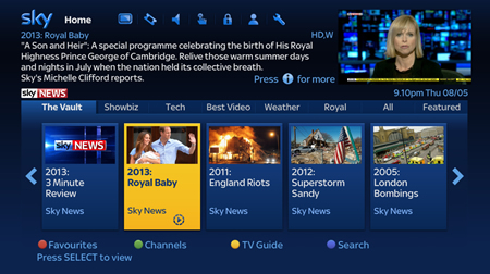 Sky news add catch up service to satellite box for Tv on demand