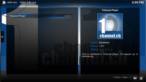 1 channel xbmc plugin