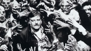 George Romero with some of his zombie creations