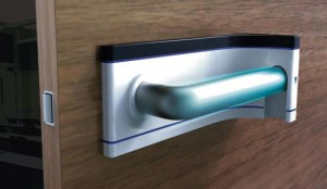 Self-sterilizing door handle